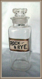 Bar Bottle Glass Label Rock And Rye