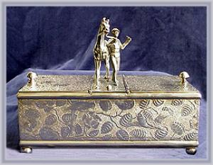 Victorian Silverplated Humidor Horse & Rider