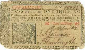 1776 Colony Of New Jersey One Shilling Note