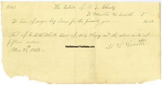 1863 Receipt For Hire Of A Slave