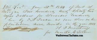 1854 Payment Receipt For Overseer On A Plantation