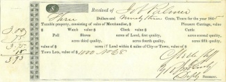 1845 Mississippi Tax Receipt