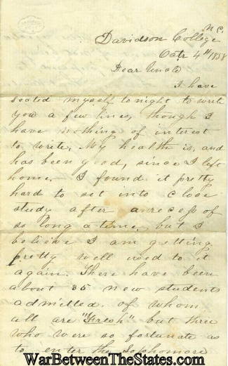 1858 Letter Written By Davidson College, S.c. Student