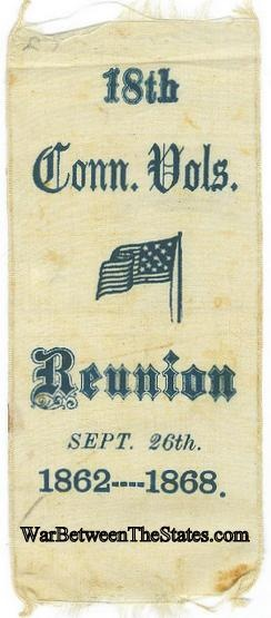 18th Connecticut Volunteers Reunion Ribbon, 1862-1868