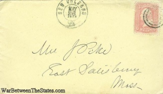 1863 Civil War Cover Postmarked At New Orleans, Louisiana