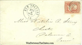 1863 Envelope Postmarked At New Orleans, Louisiana