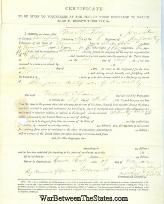 6th Vermont Infantry Certificate Issued At Discharge