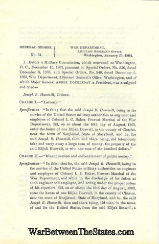 1864 War Department Imprint Regarding Cases