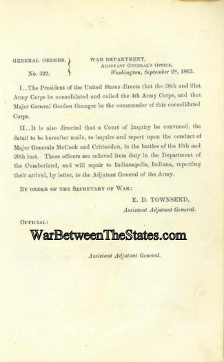 President Lincoln Orders The Consolidation Of The 20th & 21st