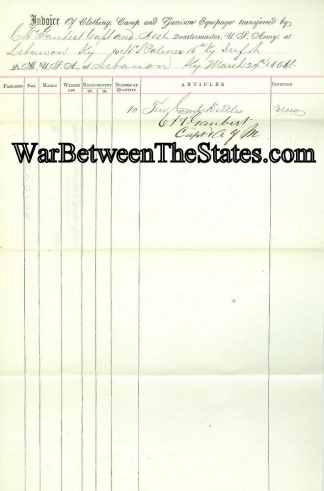 16th Kentucky Infantry Invoice