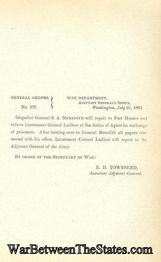 General Solomon A. Meredith Is Ordered To Duty As Agent