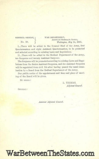 1861 Orders Regarding Adding Officers To The Quartermaster