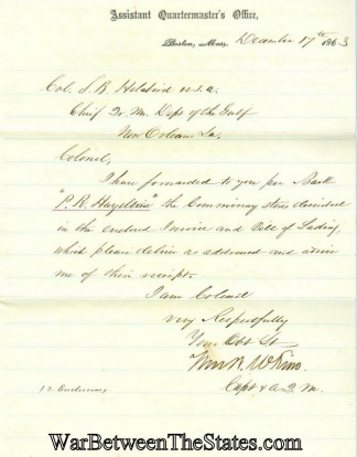 1863 Letter From Assistant Quartermaster's Office