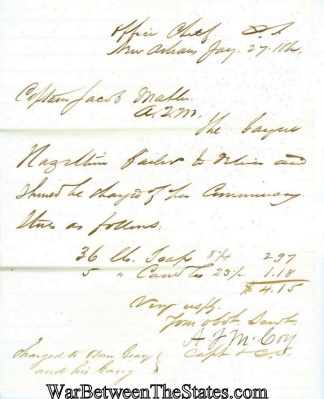 1864 Letter From The Office Of The Chief Of Commissary