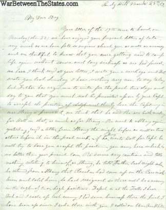 Letter To Lieutenant In The 22nd New York Infantry